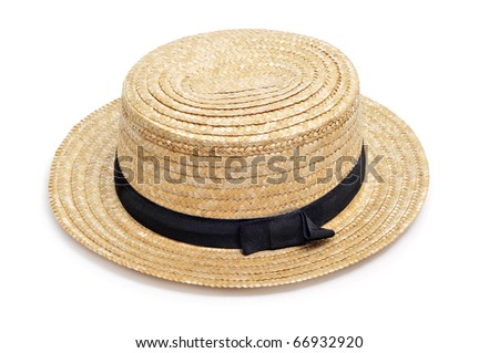 a straw hat isolated on a white background - stock photo