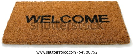 a  straw hessian welcome mat matt isolated on a white background