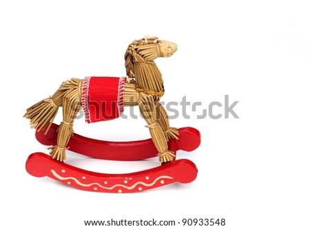A Straw Toy Hobby Horse On White - stock photo