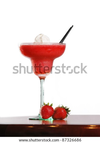A Strawberry daiquiri on a white background with lots of copy space - stock photo