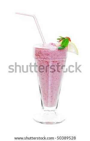 A strawberry smoothie shake studio isolated on a white background. - stock photo