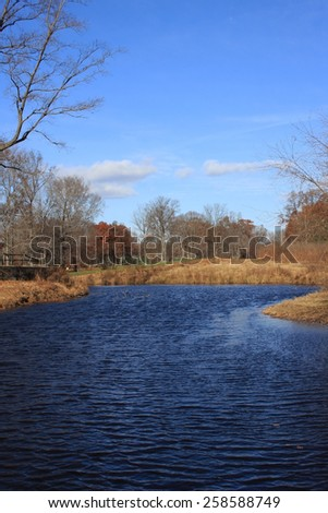 A Stream Along the Cart Path of a Local Golf Course - stock photo