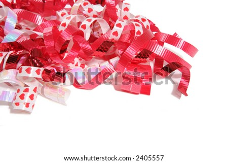 A stream of Decorative Valentines Day ribbon over white