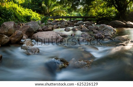 A stream or creek, is a body of water with a detectable current, confined within a bed and banks.