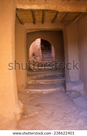 A street corridor in Ait Benhaddou the old city near Ouarzazate in Morocco. - stock photo
