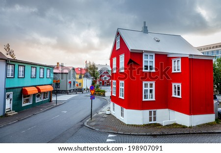 A street in central part of Reykjavik, Iceland - stock photo