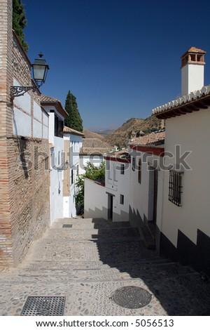 a street in granada - stock photo