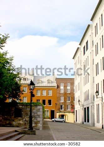A street in Old Montreal - stock photo