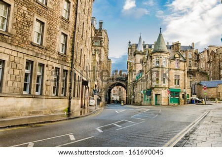 A Street in Old Town Edinburgh on Sunny Winter Day - stock photo