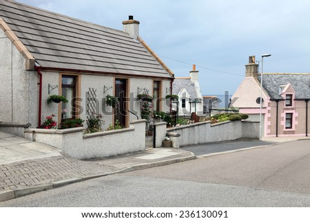 a street in the fishing village  in scotland - stock photo