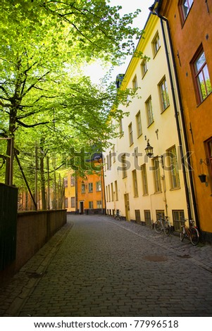 A street in the old town 'gamla stan' in Stockholm, Sweden - stock photo