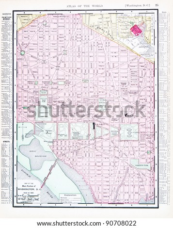 A street map of Washington, DC, USA from Spofford's Atlas of the World, printed in the United States in 1900, created by Rand McNally & Co. - stock photo