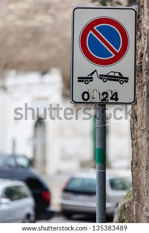 a street sign in a small italian village - stock photo