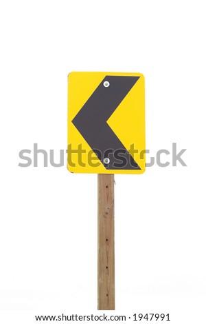 A street sign with left merge arrow. - stock photo