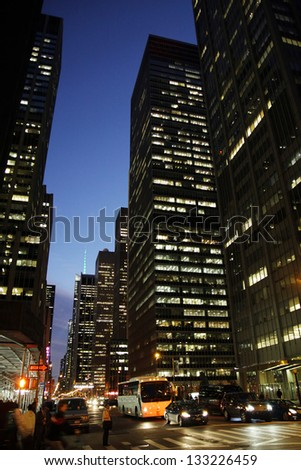 A street view in the evening in Manhattan, New York City - stock photo