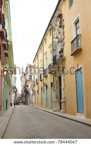 A street with colonial buildings in Havana, Cuba. - stock photo
