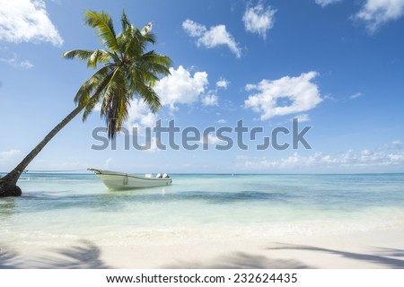 A stretch of beautiful unspoilt Caribbean Coastline with boat - stock photo