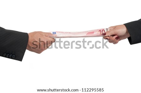A stretched banknote because two businessmen pulling it
