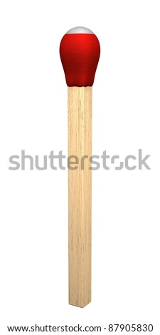 A strike anywhere wooden match stick isolated on a white background