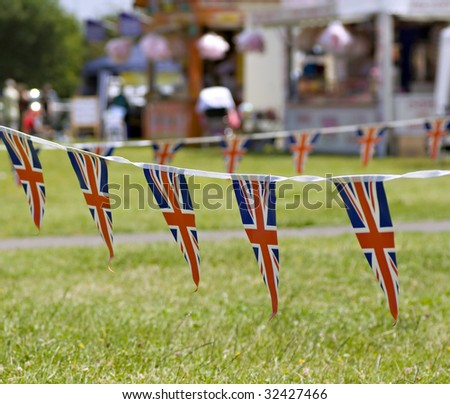 A string of Union Jack Bunting at a traditional English Fete - stock photo