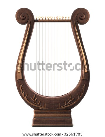 A stringed lyre musical instrument on a white background - stock photo