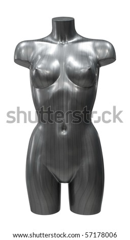 a striped female mannequin, clipping path - stock photo