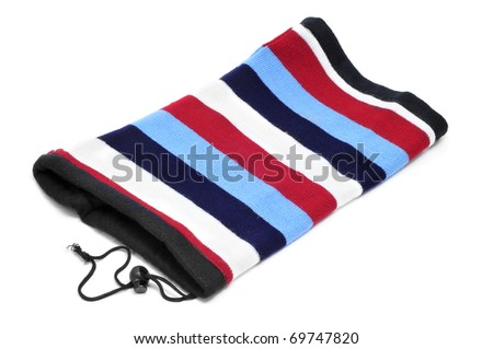a striped muffler isolated on a white background - stock photo