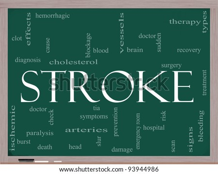 A Stroke word cloud concept on a blackboard with terms such as brain, bleed, signs, blockage and more. - stock photo