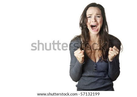 A strong image of a very upset and emotional woman crying and screaming. Isolated on white. - stock photo