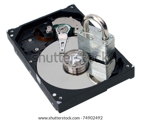 A strong lock on a hard disk drive. - stock photo
