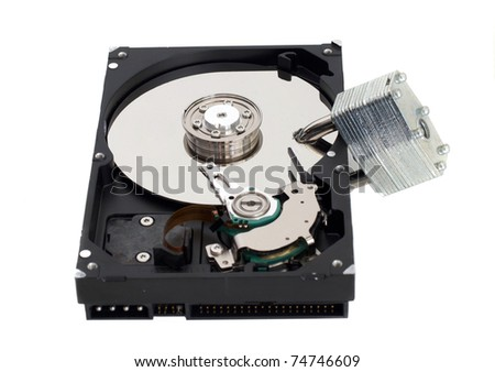 A strong lock through a harddrive. - stock photo