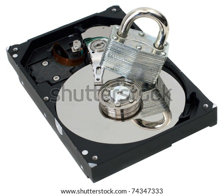 A Strong Padlock on Top of  a Hard Drive Representing Information Security - stock photo