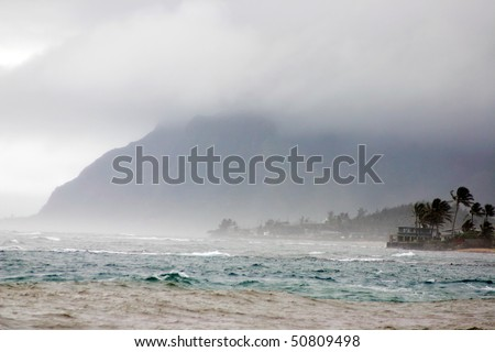 A strong storm hit hawaii beach. - stock photo