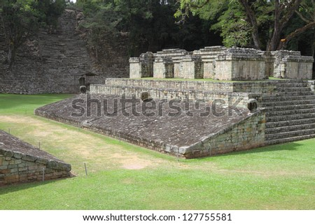 A structure that is part of the Mayan city of Copan in modern day Honduras, Central America - stock photo