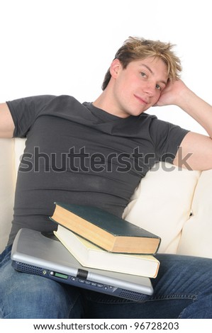 A student relaxing after school on the sofa
