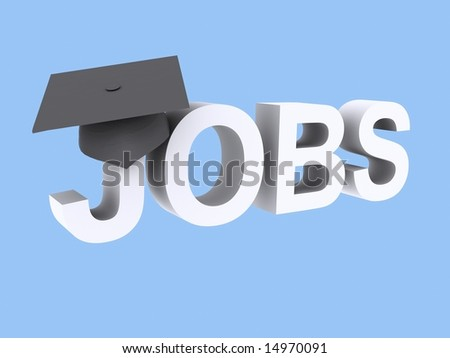 A students mortar board on the word jobs.  Indicating graduate jobs. - stock photo