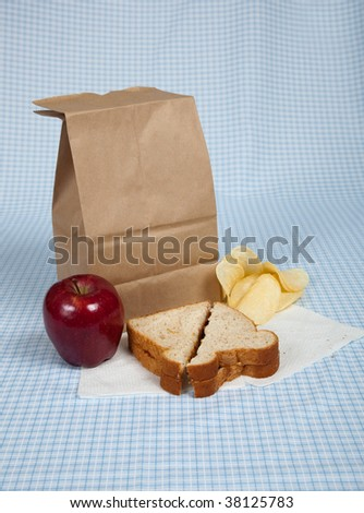 A students sack lunch with a peanut butter and jelly sandwich, potato chips and an apple - stock photo