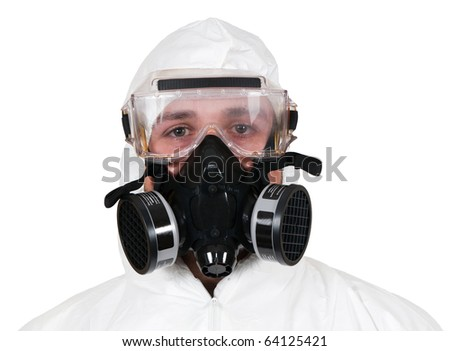 A studio closeup of a bio hazard materials man on a white background. - stock photo