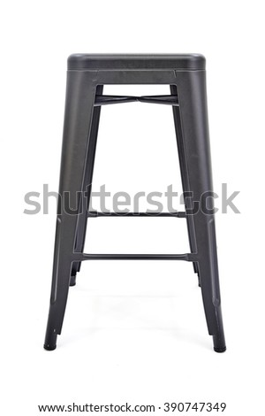 A studio photo of a black metal stool - stock photo