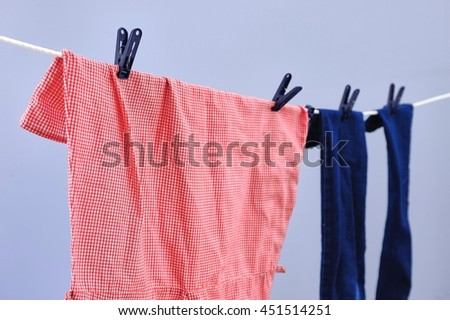 A studio photo of a clothes line