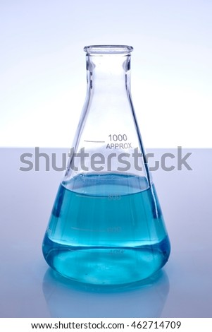 A studio photo of a Erlenmeyer Flask