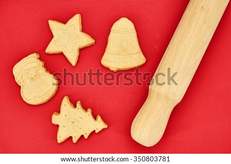 A studio photo of christmas shortbread cookies
