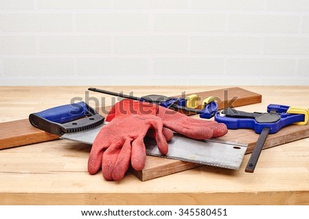 A studio photo of workshop tool bench - stock photo