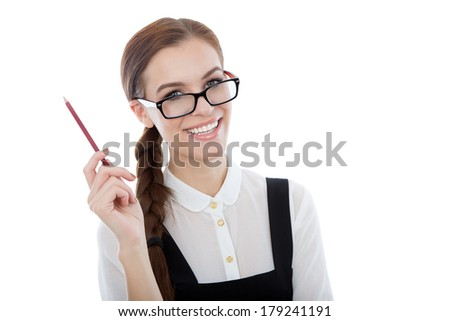 A studio portrait of a beautiful young woman wearing glasses, holding a pencil and having a great idea. Isolated on white. Copy space available.