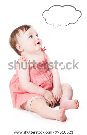 a studio portrait of a cute little child looking up and telling something or thinking on white background