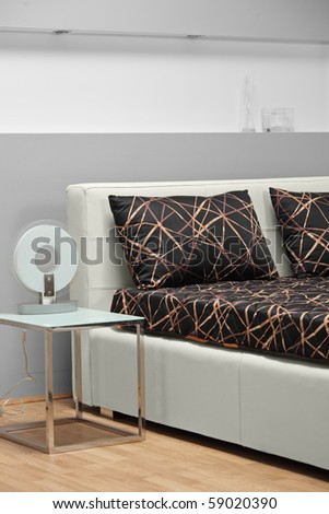 A studio shot of a bed - stock photo