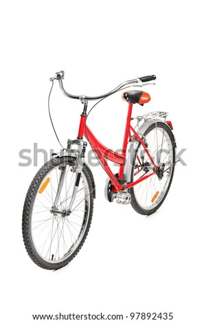 A studio shot of a bicycle isolated on white background - stock photo