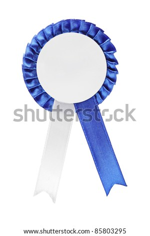 A studio shot of a blue ribbon award isolated on white background