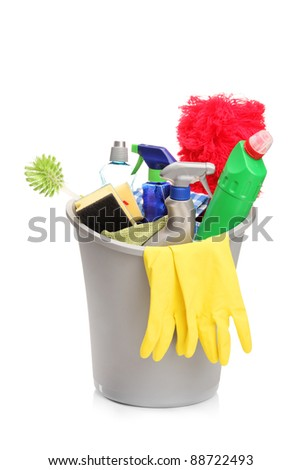 A studio shot of a bucket with cleaning supplies isolated on white background