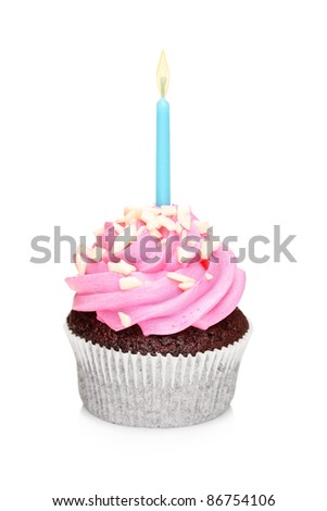 A studio shot of a chocolate cake with glowing candle isolated on white background